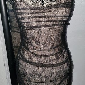 Lace Black dress with flesh toned underlay